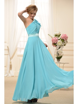 Ruched A Line One Shoulder Floor Length New Bridesmaid Dress