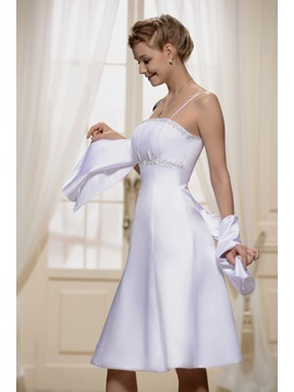 Spaghetti Strap Shirred Empire Bridesmaid Dress With Jacket Shawl