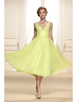 Consice V Neck Straps Ruffles Tea Length A Line Empire Bridesmaid Homecoming Dress