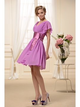 Ruffles A Line V Neck Knee Length Bridesmaid Dress
