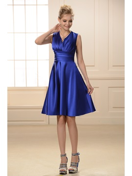 Simple Style Ruched A Line Knee Length V Neck Bridesmaid Dress