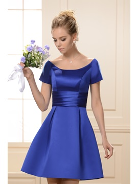 Princess A Line Scoop Neckline Short Sleeves Knee Length Bridesmaid Dress