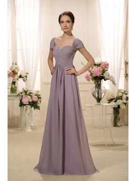 Graceful Pleats A Line Off The Shoulder Floor Length Bridesmaid Dress