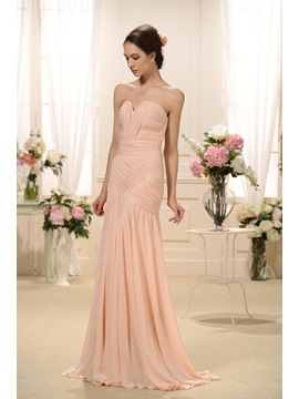 Elegant Pleats Split Front Sweetheart Neckline Trumpet Mermaid Floor Length Bridesmaid Dress