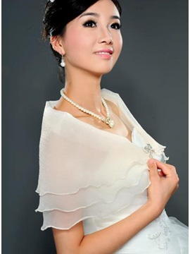 Transparent Short Sleeve Crystal Gauze Wedding Wraps