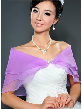 Transparent Purple Short Sleeve Gauze Wedding Wraps