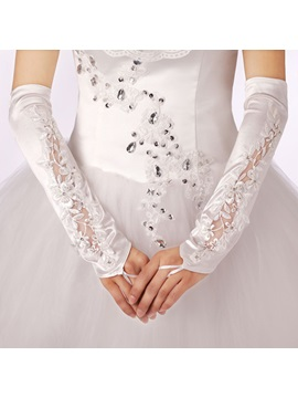 Long Fingerless Satin Appliques Beaded Wedding Gloves