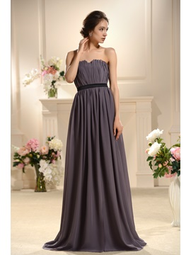 Faddish Flowers Pleats A Line Sashes Floor Length Bridesmaid Dress