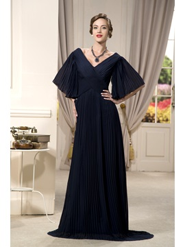 Modest Half Sleeves V Neck Floor Length Mother Of The Bride Dress