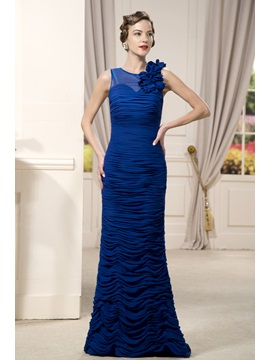 Delicated Pleats Flowers Sheath Round Neckline Floor Length Mother Of The Bride Dress