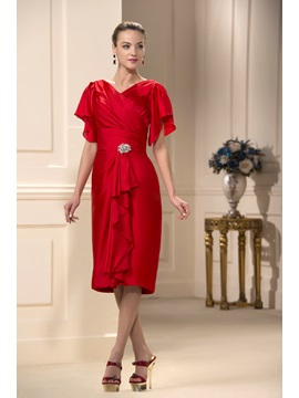 Excellent Ruched Crystal V Neck Short Sleeves Knee Length Mother Of The Bride Dress