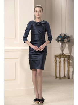 Jewel Neck Knee Length Sheath Column Classic Mother Of The Bride Dress