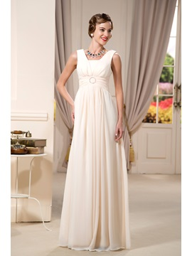 Sexy Beaded A Line Square Neck Floor Length Mother Of The Bride Dress