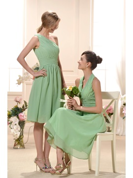 Fabulous Draped Empire Waist Knee Length One Shoulder Train Bridesmaid Dress
