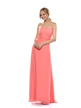 A Line Strapless Floor Length Bridesmaid Dress