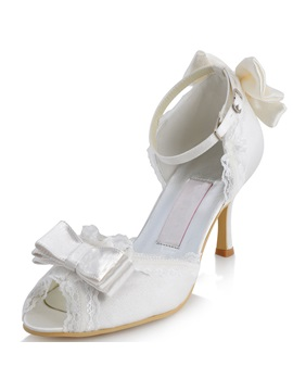 Bowknot Ribbon Decorated Open Toe Wedding Shoes