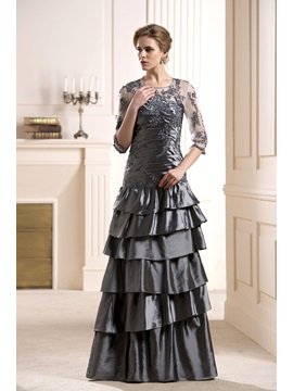 Appliques Tiered Scoop Neckline 3 4 Length Sleeves Long Mother Of The Bride Dress