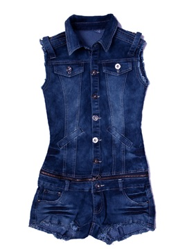 Nice Slim Low Waist Jeans Jacket Romper