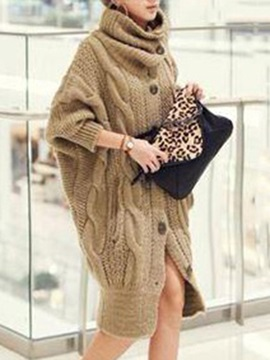 Distinctive Single Breasted Lapel Hemp Pattern Knit Bat Sleeves Sweater