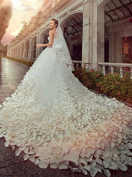 Appliques Beading Cathedral Train Wedding Dress