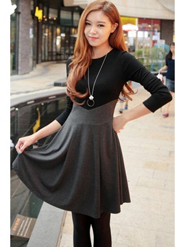 Long Sleeve Patchwork Pleated Womens Skater Dress