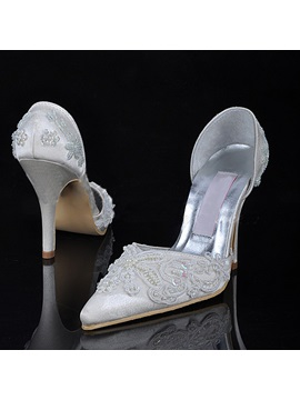 Comfort Satin Stiletto Heel Beading Wedding Shoes