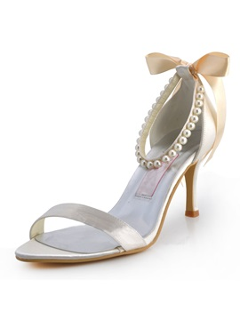 Celebrity Pearl Belt Bow Wedding Prom Shoes
