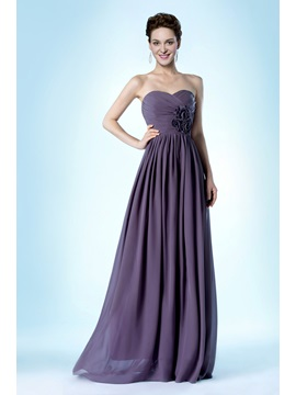 Elegant A Line Flowers Strapless Long Evening Dress