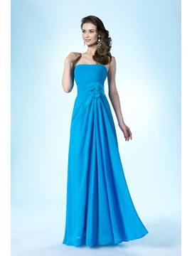Simple Style Strapless Zipper Up Floor Length A Line Bridesmaid Dress
