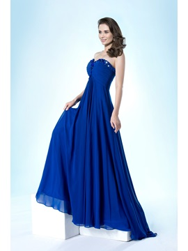Simple Style Sweetheart Pleats Beading A Line Sweep Train Floor Length Evening Dress