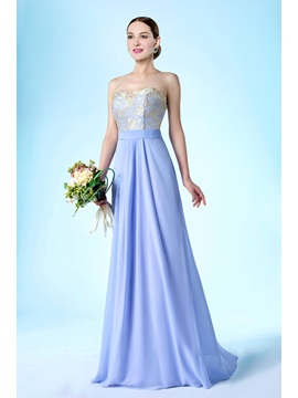 New Fashion Strapless Zipper Up Floor Length A Line Bridesmaid Dress