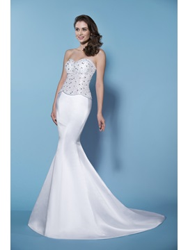 Unexceptionable Mermaid Trumpet Crystal Sweetheart Neckline Wedding Dress