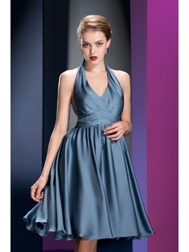 High Quality A Line Knee Length Halter Ruched Bridesmaid Dress
