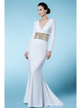 Classical Sheath Column V Neck Long Sleeves Sequined Wedding Dress