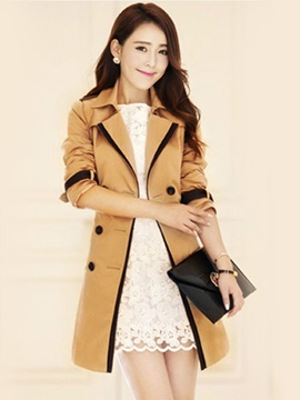Slim Double Breasted Mid Length Womens Trench Coat