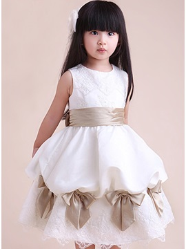 New Bowknots Appliques Party Flower Girl Dress