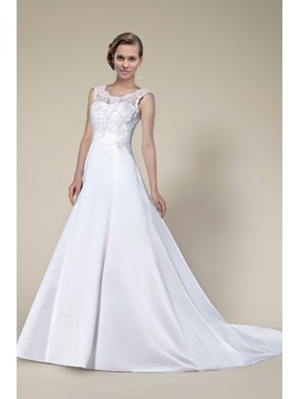 New Fashion Simple Style Lace Sleeveless Chapel Train Wedding Dress