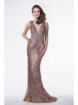 Shinning V Neck Mermaid Beading Sequins Backless Sweep Train Long Evening Dress