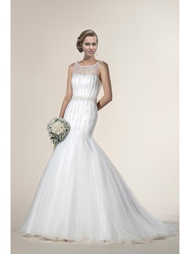 Mysterious Trumpet Mermaid Sleeveless Beading Scoop Chapel Train Wedding Dress
