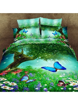 Smart Butterfly Floral Print 4piece Cotton Bedding Sets