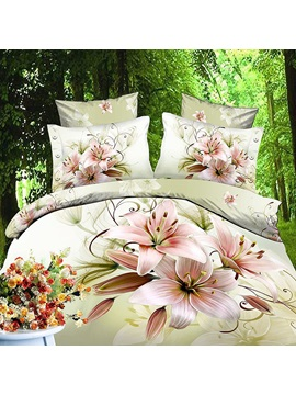 Marvellous Comfortable Flower Print Cotton 4piece Bedding Sets