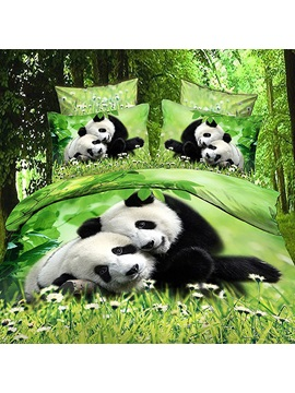 Exclusive 4piece Panda Print Cotton Bedding Sets