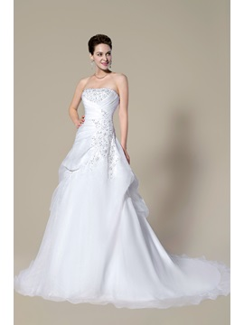 Strapless Beading Lace Up Court Train A Line Floor Length Wedding Dress