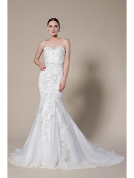 Simple Style Strapless Sweetheart Applique Zipper Up Court Train Trumpet Wedding Dress