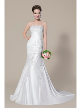 Strapless Beading Appliques Mermaid Wedding Dress