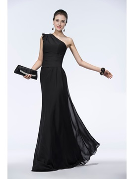 Timeless A Line Black Chiffon Lace One Shoulder Long Evening Dress
