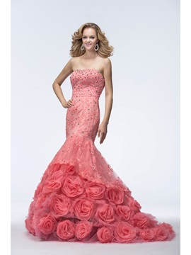 Popularable Trumpet Mermaid Sleeveless Beading Pearls Sweetheart Court Train Evening Dress