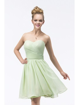Modern A Line Knee Length Sweetheart Strapless Ruffles Bridesmaid Dress