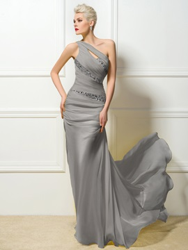 One Shoulder Sheath Beading Evening Dress