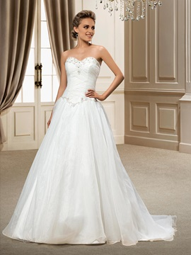 A Line Beading Sweetheart Chapel Train Wedding Dress